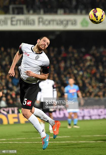 Luigi Giorgi of Cesena in action during the Serie A match between AC Cesena and SSC Napoli at Dino Manuzzi Stadium on January 6 2015 in Cesena Italy