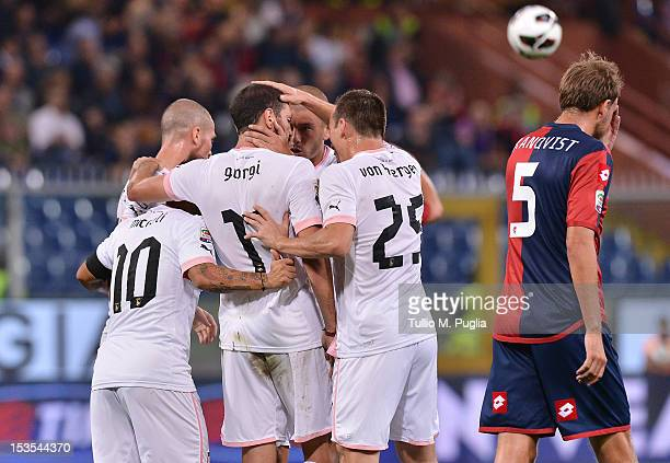 Luigi Giorgi of Palermo celebrates with teammates after scoring the opening goal during the Serie A match between Genoa CFC and US Citta di Palermo...
