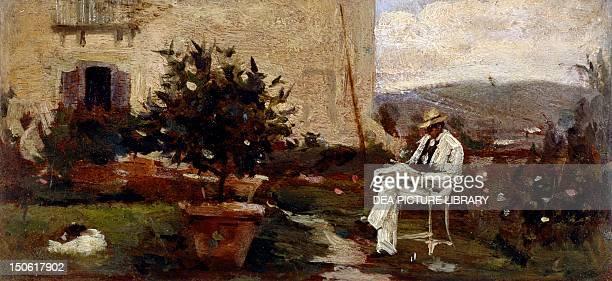 Luigi Tommasi in the garden by Silvestro Lega oil on panel 7x145 cm