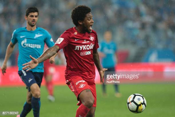Luis Adriano of FC Spartak Moscow vie for the ball during the Russian Football League match between FC Zenit St Petersburg and FC Spartak Moscow at...