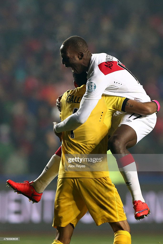 Luis Advincula and Pedro Gallese of Peru celebrates the second goal of his team scored by their teammate Paolo Guerrero (NOT IN FRAME) during the 2015 Copa America Chile Third Place Playoff match between Peru and Paraguay at Ester Roa Rebolledo Stadium on July 03, 2015 in Concepcion, Chile.
