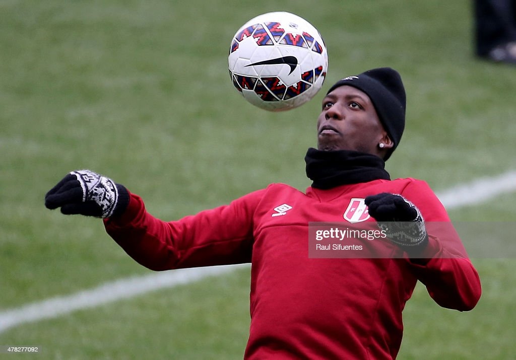 Luis Advincula during a training session as part of 2015 Copa America Chile at Estadio German Becker on June 24, 2015 in Temuco, Chile.