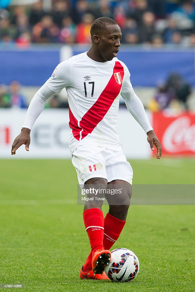 Luis Advincula of Peru controls the ball during the 2015 Copa America Chile Group C match between Colombia and Peru at Municipal Bicentenario Germán Becker Stadium on June 21, 2015 in Temuco, Chile.