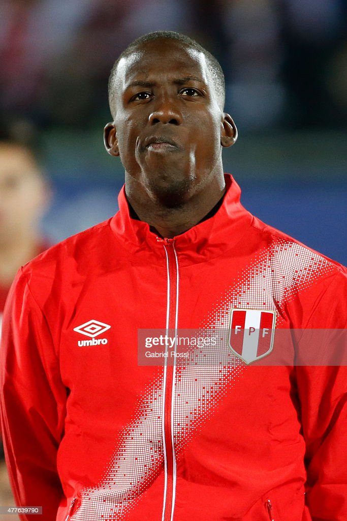 Luis Advincula of Peru looks on during the national anthem ceremony prior the 2015 Copa America Chile Group C match between Peru and Venezuela at Elías Figueroa Brander Stadium on June 18, 2015 in Valparaiso, Chile.