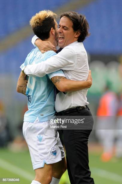 Luis Alberto and Simone Inzaghi of SS Lazio celebrate after the Serie A match between SS Lazio and US Sassuolo at Stadio Olimpico on October 1 2017...