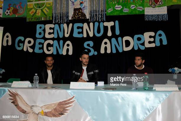 Luis Alberto Felipe Anderson and Luca Crecco of SS Lazio meets school students with his teammates at the school Gregna di Santa Andrea in Rome on...
