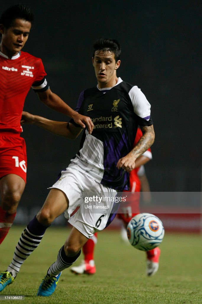 Luis Alberto of Liverpool in action during the match between the Indonesia XI and Liverpool FC on July 20, 2013 in Jakarta, Indonesia.