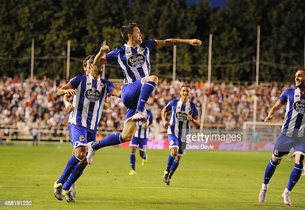 Luis Alberto of RC Deportivo la Coruna celebrates after scoring Deportivo's 2nd goal during the La Liga match between Rayo Vallecano and RC Deportivo...