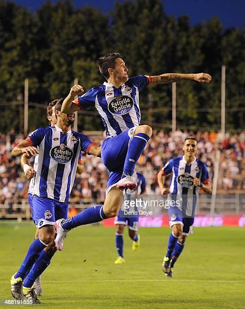 Luis Alberto of RC Deportivo la Coruna celebrates after scoring Deportivo's 2nd goal during the La Liga match between Rayo Vallecano and RC Deportivo...