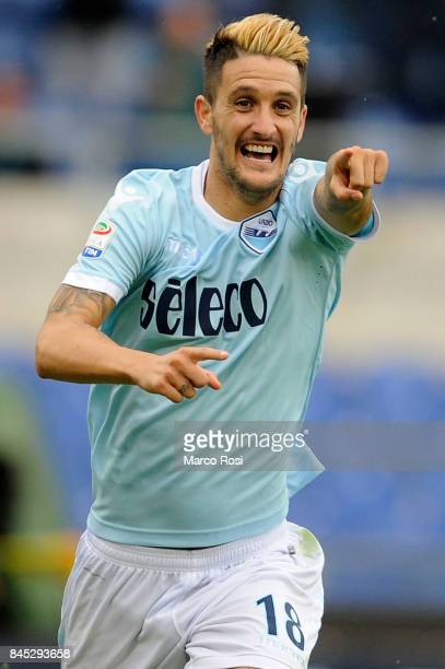 Luis Alberto of SS Lazio celebrates a fourth goal during the Serie A match between SS Lazio and AC Milan at Stadio Olimpico on September 10 2017 in...