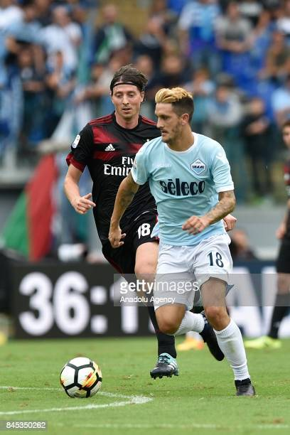Luis Alberto of SS Lazio in action against Rccardo Montolivo of AC Milan during the Serie A soccer match between SS Lazio and AC Milan Stadio...