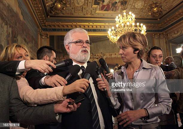 Luis Alberto Orellana Senate Presidential candidate of the 5 Star Movement talks with journalists prior to the Italian Parliament inaugural session...