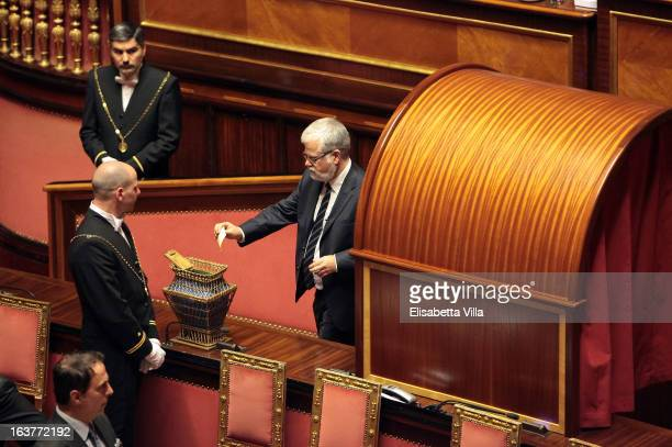 Luis Alberto Orellana Senate Presidential candidate of the 5 Star Movement votes for the president of Senate during the Italian Parliament inaugural...