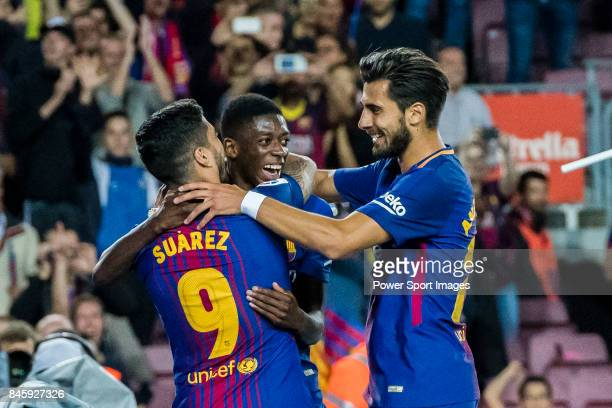 Luis Alberto Suarez Diaz of FC Barcelona celebrates after scoring his goal with Ousmane Dembele and Andre Filipe Tavares Gomes of FC Barcelona during...