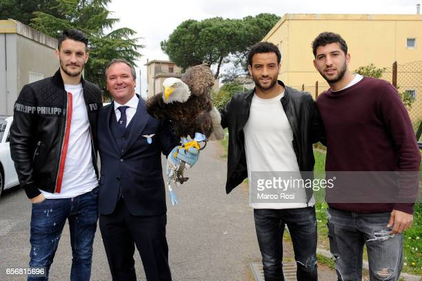Luis Alberto the symbol of SS Lazio Olimpia Felipe Anderson and Luca Crecco of SS Lazio meets school students with his teammates at the school Gregna...