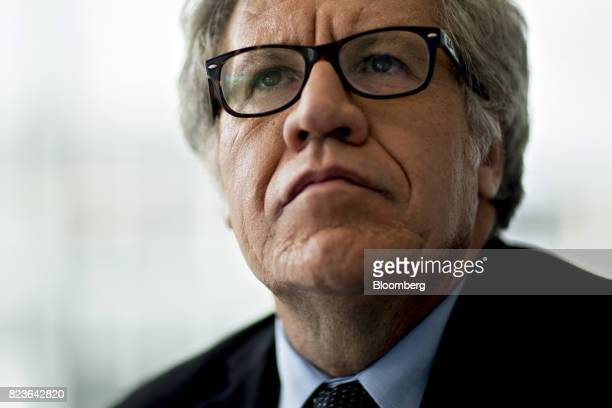 Luis Almagro secretary general of the Organization of American States stands for a photograph following a Bloomberg Television interview in...