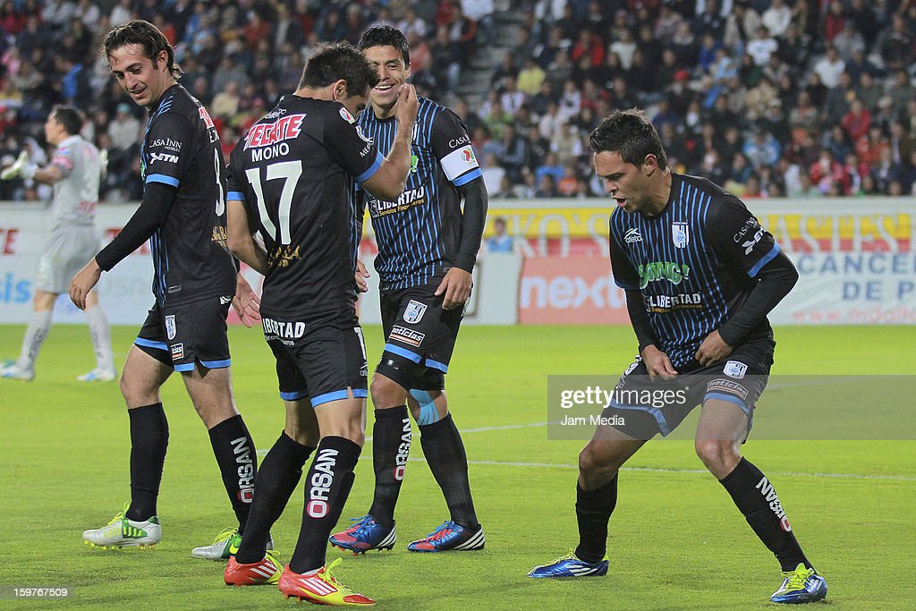 <a gi-track='captionPersonalityLinkClicked' href=/galleries/search?phrase=Luis+Angel+Landin&family=editorial&specificpeople=695446 ng-click='$event.stopPropagation()'>Luis Angel Landin</a> of Queretaro and his teammates celebrate a goal against Pachuca during a match between Pachuca and Queretaro as part of the Clausura 2013 Liga MX at Hidalgo Stadium on January 19, 2013 in Pachuca, Mexico.