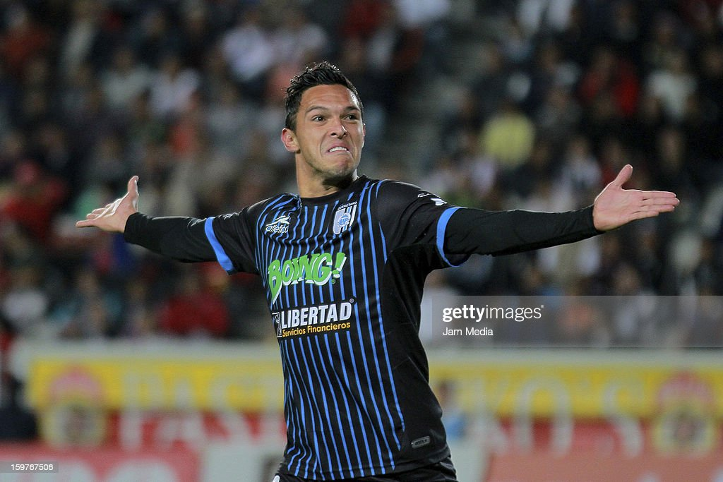 <a gi-track='captionPersonalityLinkClicked' href=/galleries/search?phrase=Luis+Angel+Landin&family=editorial&specificpeople=695446 ng-click='$event.stopPropagation()'>Luis Angel Landin</a> of Queretaro celebrates a goal against Pachuca during a match between Pachuca and Queretaro as part of the Clausura 2013 Liga MX at Hidalgo Stadium on January 19, 2013 in Pachuca, Mexico.