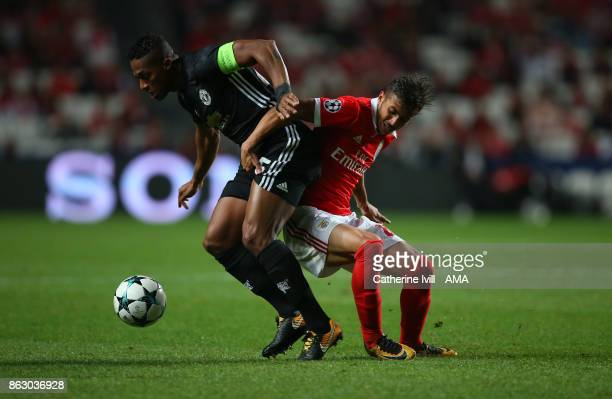 Luis Antonio Valencia of Manchester United and Diogo Goncalves of Benfica during the UEFA Champions League group A match between SL Benfica and...
