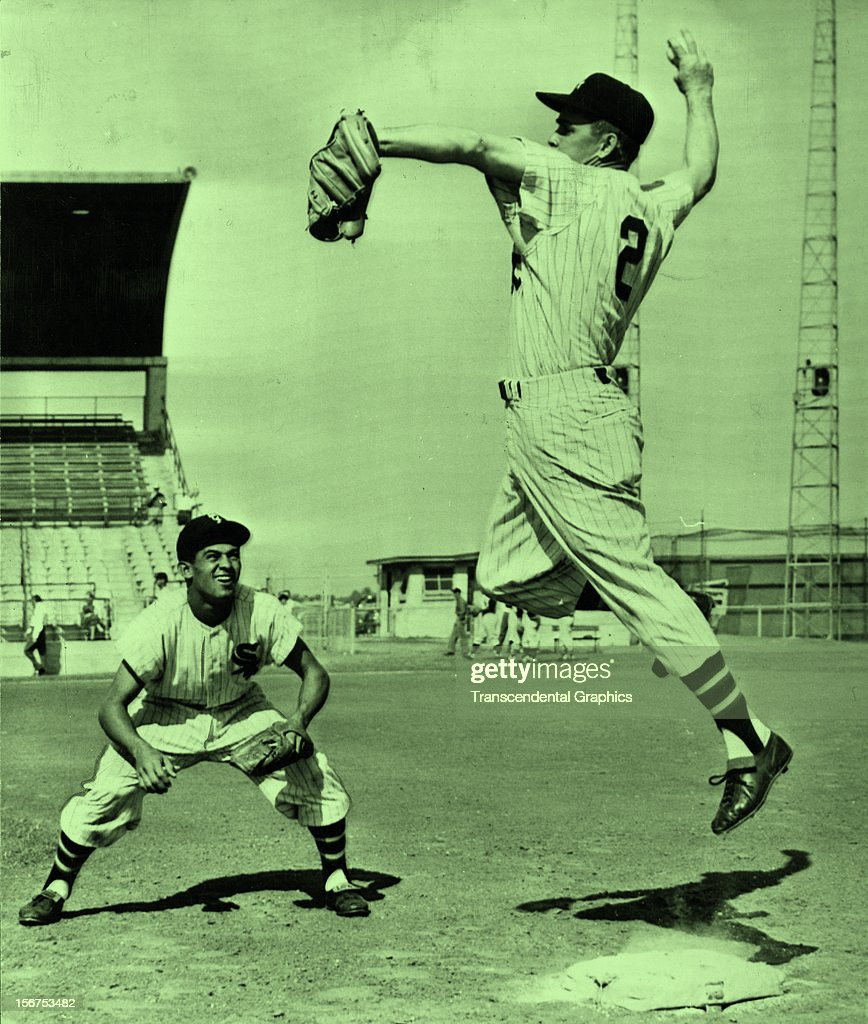Luis Aparicio, left, and Nellie Fox work out at the White Sox' spring training facility in 1956 in Sarasota, Florida.
