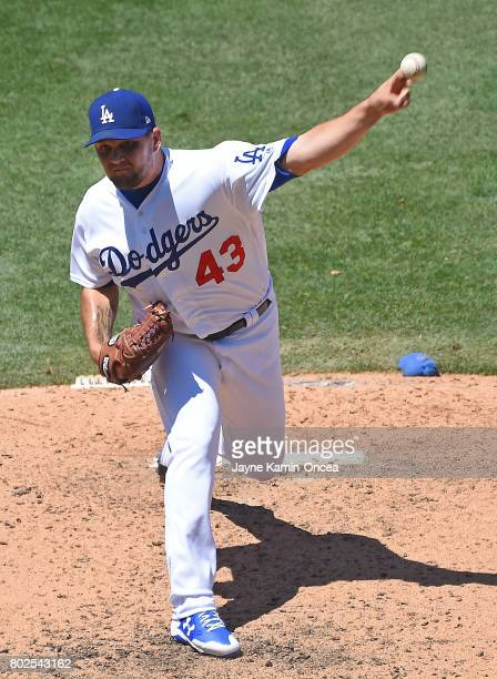 Luis Avilan of the Los Angeles Dodgers in the game against the Colorado Rockies at Dodger Stadium on June 25 2017 in Los Angeles California