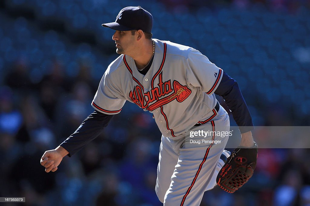 <a gi-track='captionPersonalityLinkClicked' href=/galleries/search?phrase=Luis+Ayala&family=editorial&specificpeople=209039 ng-click='$event.stopPropagation()'>Luis Ayala</a> #20 of the Atlanta Braves delivers against the Colorado Rockies at Coors Field on April 24, 2013 in Denver, Colorado. <a gi-track='captionPersonalityLinkClicked' href=/galleries/search?phrase=Luis+Ayala&family=editorial&specificpeople=209039 ng-click='$event.stopPropagation()'>Luis Ayala</a> collected the loss as the Rockies defeated the Braves 6-5 in 12 innings.