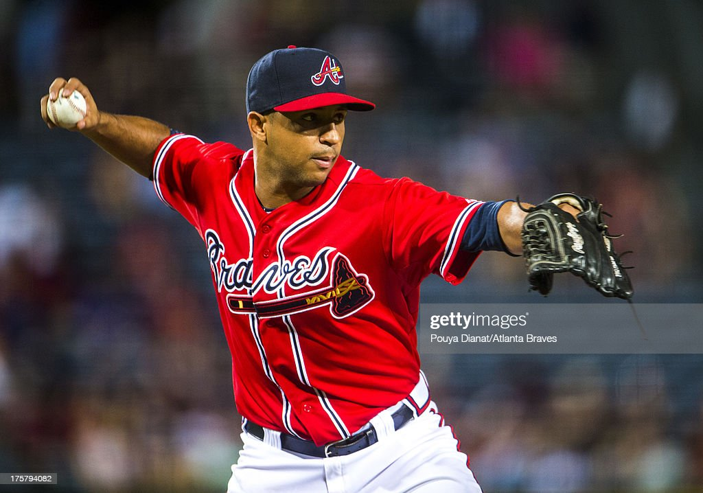 <a gi-track='captionPersonalityLinkClicked' href=/galleries/search?phrase=Luis+Ayala&family=editorial&specificpeople=209039 ng-click='$event.stopPropagation()'>Luis Ayala</a> #20 of the Atlanta Braves pitches against the Cincinnati Reds at Turner Field on July 12, 2013 in Atlanta, Georgia . The Reds won 4-2.