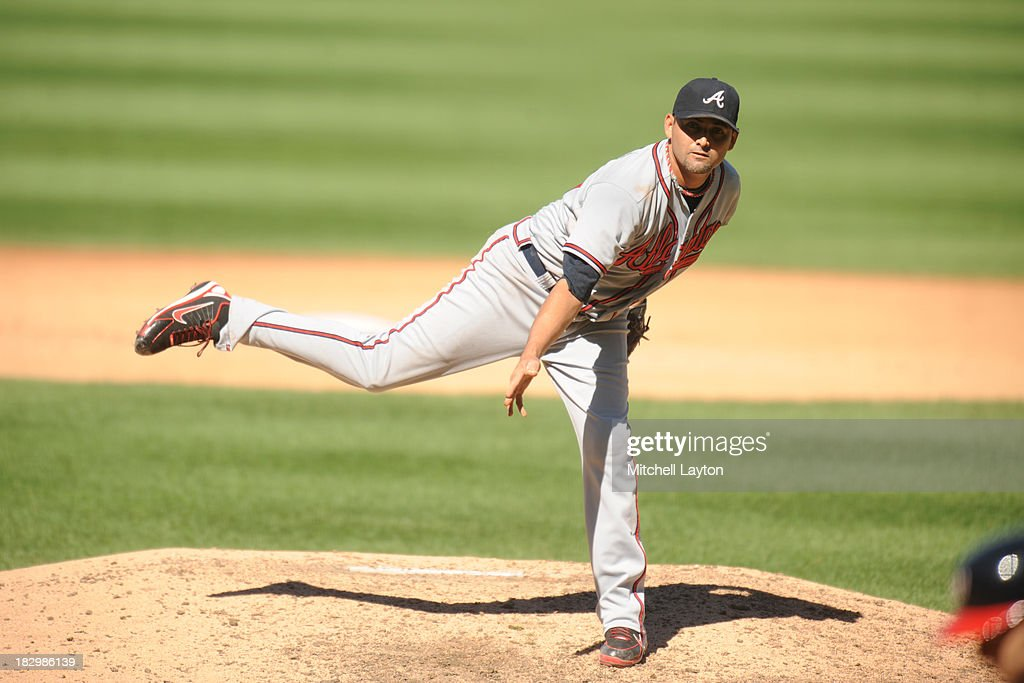 <a gi-track='captionPersonalityLinkClicked' href=/galleries/search?phrase=Luis+Ayala&family=editorial&specificpeople=209039 ng-click='$event.stopPropagation()'>Luis Ayala</a> #20 of the Atlanta Braves pitches during game one of a baseball game against the Washington Nationals on September 17, 2013 at Nationals Park in Washington, DC. The Nationals won 6-5.