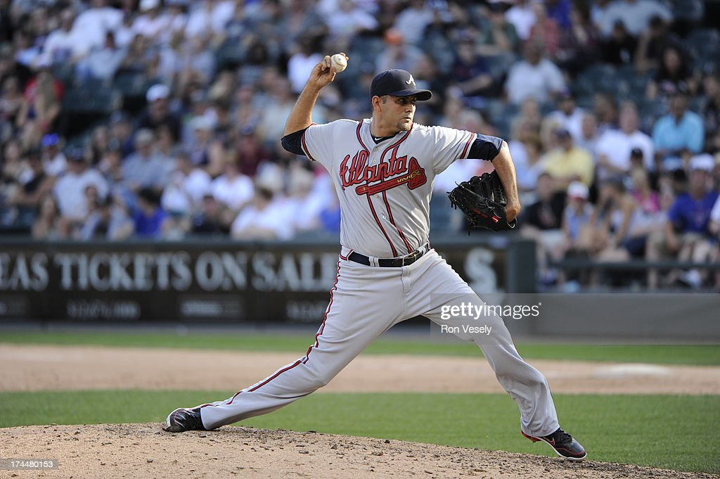 <a gi-track='captionPersonalityLinkClicked' href=/galleries/search?phrase=Luis+Ayala&family=editorial&specificpeople=209039 ng-click='$event.stopPropagation()'>Luis Ayala</a> #20 of the Atlanta Braves pitches during the game against the Chicago White Sox on Saturday, July 20, 2013 at U.S. Cellular Field in Chicago, Illinois.