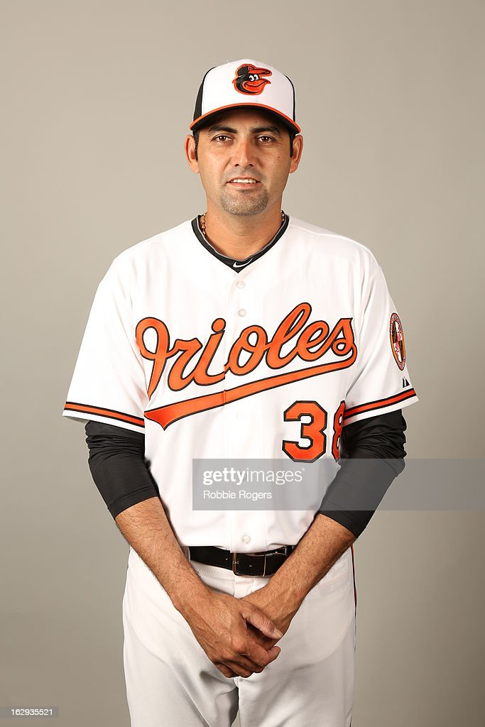 <a gi-track='captionPersonalityLinkClicked' href=/galleries/search?phrase=Luis+Ayala&family=editorial&specificpeople=209039 ng-click='$event.stopPropagation()'>Luis Ayala</a> #38 of the Baltimore Orioles poses during Photo Day on February 22, 2013 at Ed Smith Stadium in Sarasota, Florida.