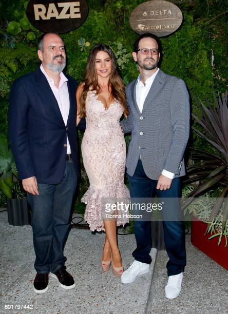 Luis Balaguer Sofia Vergara and Emiliano Calemzuk attend the Raze Launch Party at Smogshoppe on June 26 2017 in Los Angeles California