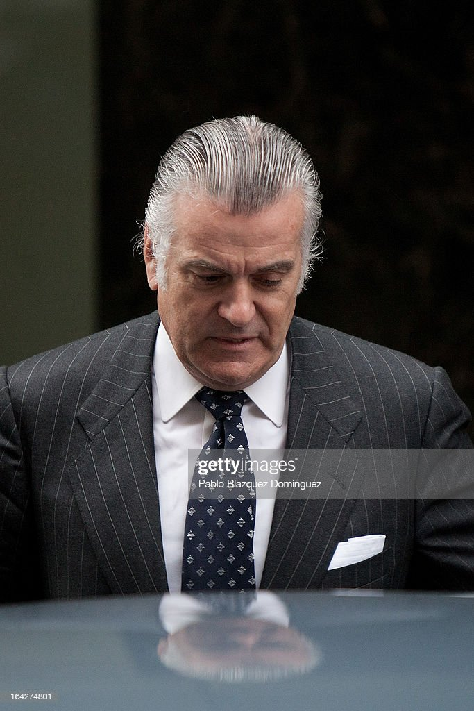 Luis Barcenas, former treasurer of the ruling Popular Party, leaves the Madrid National Court after refusing to provide a statement and to undergo a calligraphic test over alleged undeclared payments made to Popular Party members on March 22, 2013 in Madrid, Spain. Barcenas is being investigated for possible fraud offenses while he was treasurer of the Popular Party.