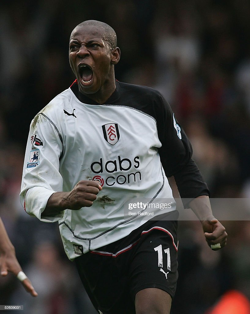 Luis Boa Morte of Fulham celebrates his goal during the Barclays Premiership League match between Fulham and Manchester City at Craven Cottage on...