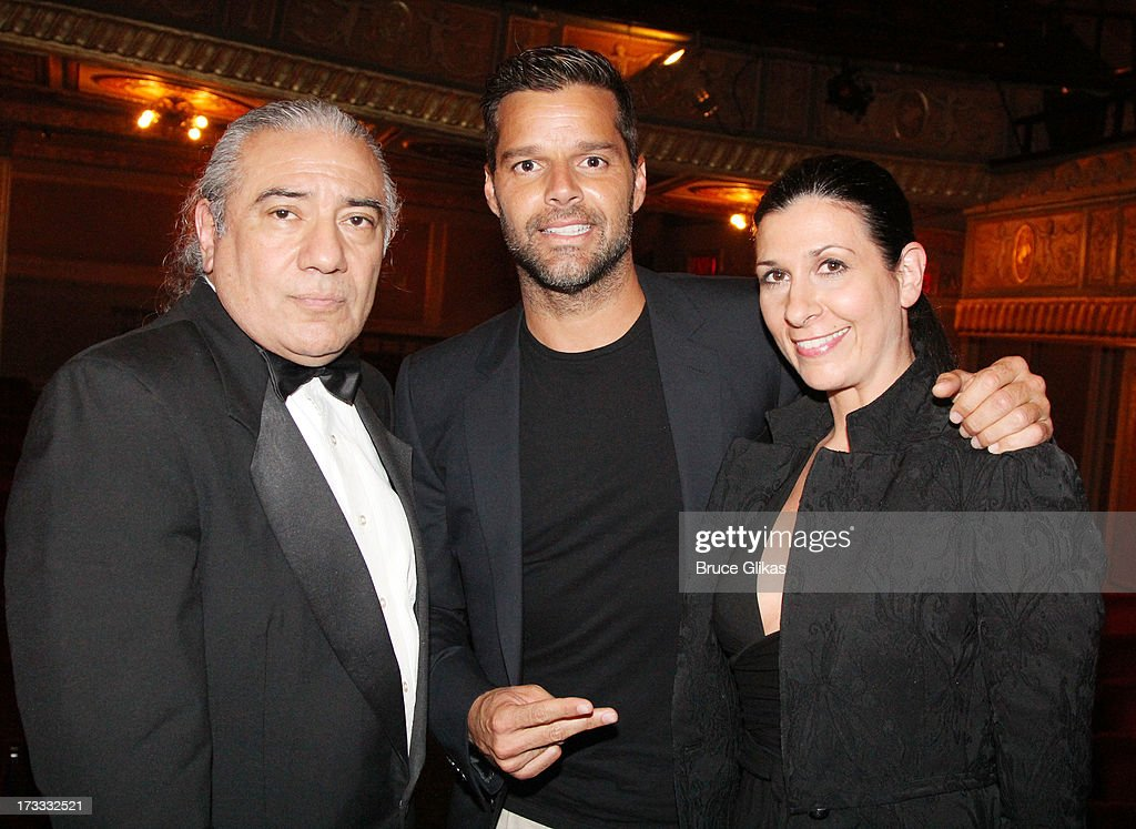 Luis Bravo, <a gi-track='captionPersonalityLinkClicked' href=/galleries/search?phrase=Ricky+Martin&family=editorial&specificpeople=160450 ng-click='$event.stopPropagation()'>Ricky Martin</a> and guest pose backstage at the Argentinian dance sensation 'Forever Tango' on Broadway at The Walter Kerr Theater on July 11, 2013 in New York City.