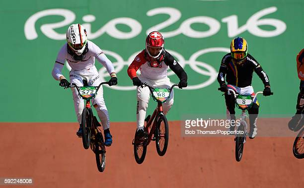 R Luis Brethauer of Germany David Graf of Switzerland and Carlos Alberto Ramirez Yepes of Colombia during the Mens BMX Semi Finals on day 14 of the...