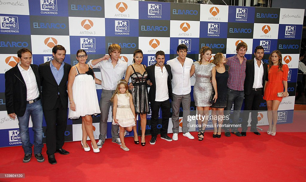 Luis Callejo, Juan Pablo Shuk, Neus Sanz, Bernabe Fernandez, Patricia Arbues, Giselle Calderon, Javier Fernandez, <a gi-track='captionPersonalityLinkClicked' href=/galleries/search?phrase=Mario+Casas&family=editorial&specificpeople=4617963 ng-click='$event.stopPropagation()'>Mario Casas</a>, <a gi-track='captionPersonalityLinkClicked' href=/galleries/search?phrase=Blanca+Suarez&family=editorial&specificpeople=4708287 ng-click='$event.stopPropagation()'>Blanca Suarez</a>,Marina Salas, Iván Massague, David Seijo and Irene Montala attend 'El Barco' premiere at Capitol Cinema on September 5, 2011 in Madrid, Spain.