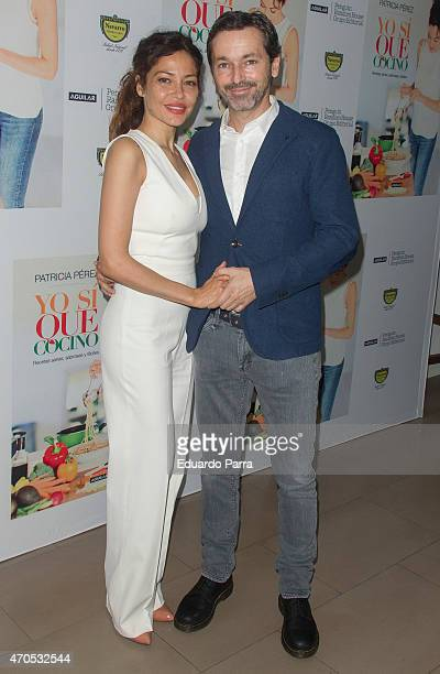 Luis Canut and Patricia Perez attend Patricia Perez's new book 'Yo si que cocino' press conference at Navarro herbalist on April 21 2015 in Madrid...