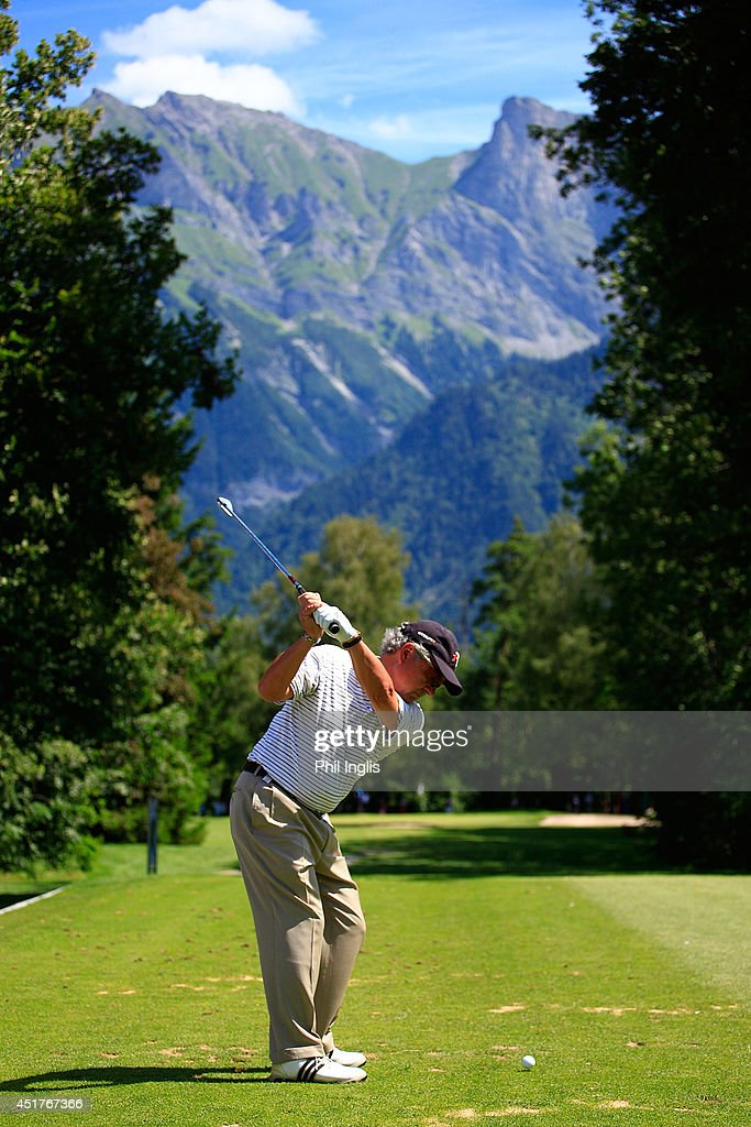 Luis Carbonetti of Argentina in action during the final round of the Bad Ragaz PGA Seniors Open played at Golf Club Bad Ragaz on July 6, 2014 in Bad Ragaz, Switzerland.