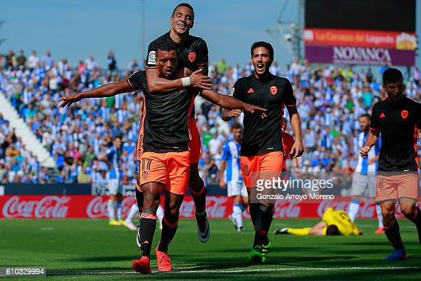 Luis Carlos Almeida alias Nani of Valencia CF celebrates scoring their opening goal during the La Liga match between CD Leganes and Valencia CF at...