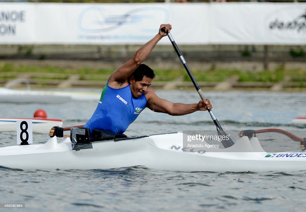 Luis Carlos Cardoso da Silva of Brazil is on his way to win the men's V1 (A) 200m final of the 2014 ICF Canoe Sprint World hampionships in Moscow, Russia on August 6, 2014.