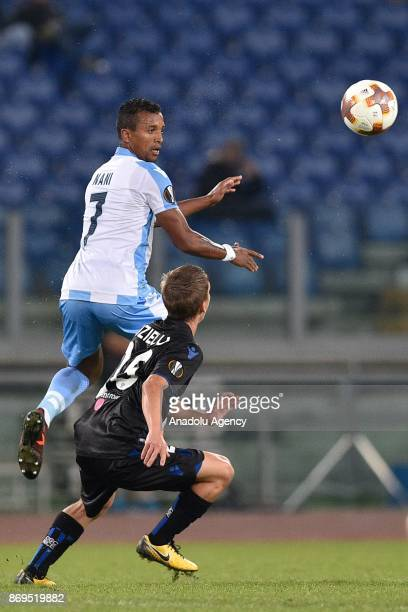 Luis Carlos Nani of SS Lazio in action against Vincent Koziello of OGC Nice during the UEFA Europa League Group K soccer match between SS Lazio and...