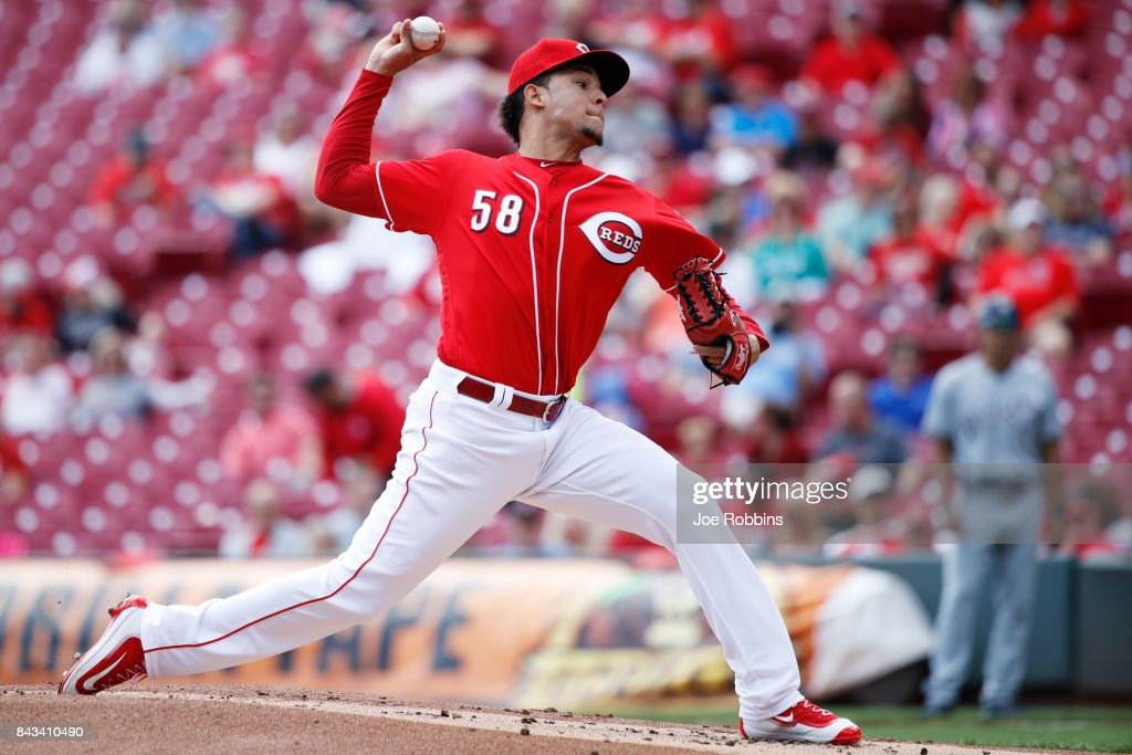 Luis Castillo #58 of the Cincinnati Reds pitches in the first inning of a game against the Milwaukee Brewers at Great American Ball Park on September 6, 2017 in Cincinnati, Ohio.