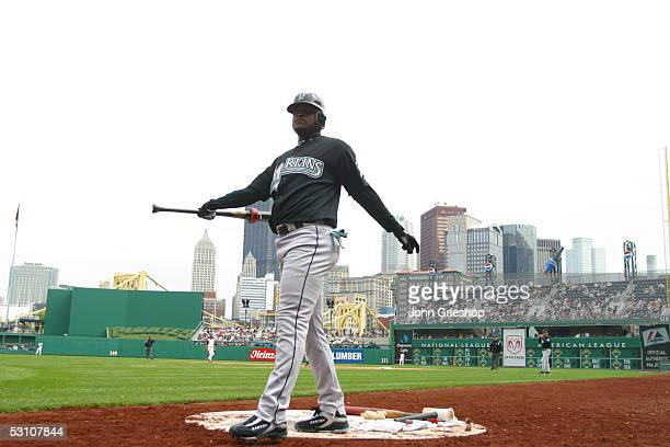Luis Castillo of the Florida Marlins stands in the ondeck circle during the game against the Pittsburgh Pirates at PNC Park on May 30 2005 in...