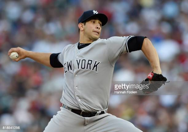 Luis Cessa of the New York Yankees delivers a pitch against the Minnesota Twins during the first inning of the game on July 18 2017 at Target Field...