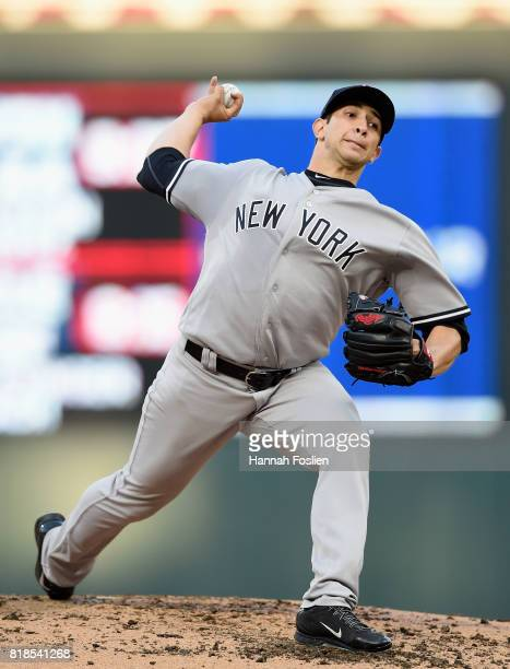 Luis Cessa of the New York Yankees delivers a pitch against the Minnesota Twins during the second inning of the game on July 18 2017 at Target Field...