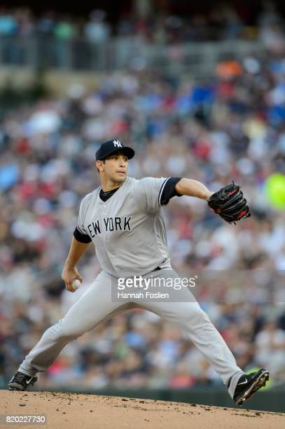 Luis Cessa of the New York Yankees delivers a pitch against the Minnesota Twins during the game on July 18 2017 at Target Field in Minneapolis...