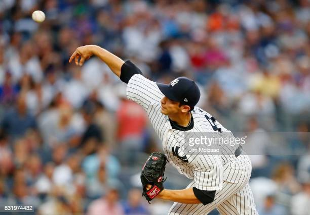Luis Cessa of the New York Yankees in action against the New York Mets at Yankee Stadium on August 14 2017 in the Bronx borough of New York City The...