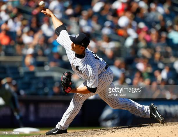 Luis Cessa of the New York Yankees in action against the Tampa Bay Rays at Yankee Stadium on July 30 2017 in the Bronx borough of New York City The...