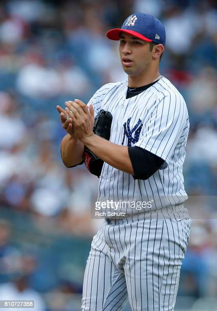 Luis Cessa of the New York Yankees in action against the Toronto Blue Jays during a game at Yankee Stadium on July 4 2017 in the Bronx borough of New...