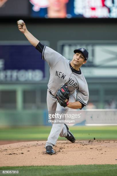 Luis Cessa of the New York Yankees pitches against the Minnesota Twins on July 18 2017 at Target Field in Minneapolis Minnesota The Twins defeated...